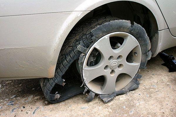 Если внезапно лопнула шина